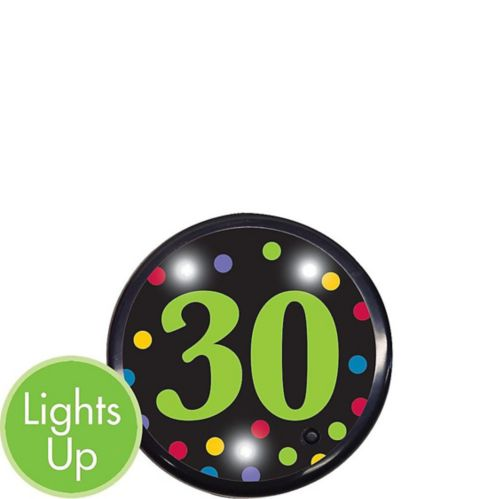 Light-Up 30th Birthday Button