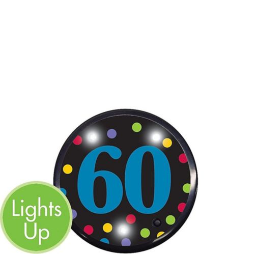 Light-Up 60th Birthday Button