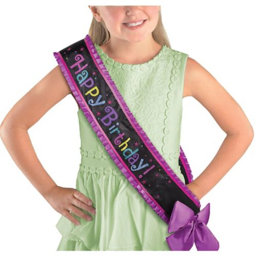 Purple Birthday Sash Deluxe