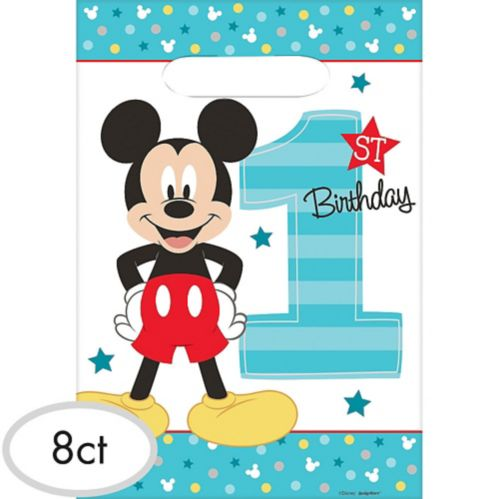 1st Birthday Mickey Mouse Favour Bags, 8-pc