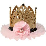 Glitter Gold & Pink Mini Crown Hair Clip | Amscannull
