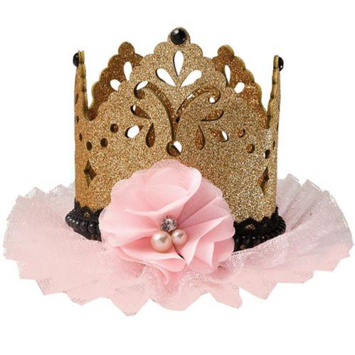 Glitter Gold & Pink Mini Crown Hair Clip