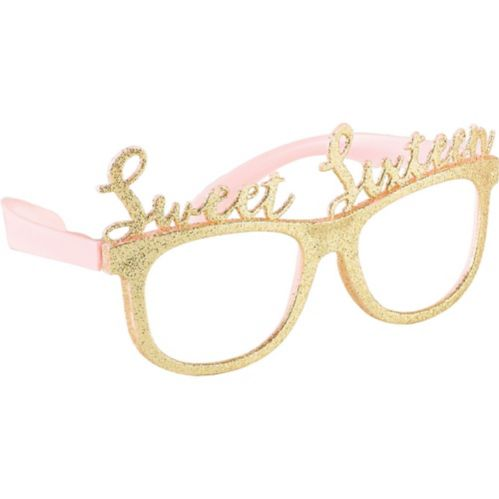 Glitter Gold Sweet 16 Glasses, 6-ct