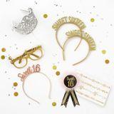 Glitter Gold Sweet 16 Glasses, 6-ct   Amscannull