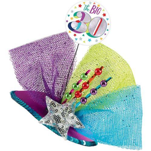 Clip-On Prismatic Multicolour 30th Birthday Fascinator Hat