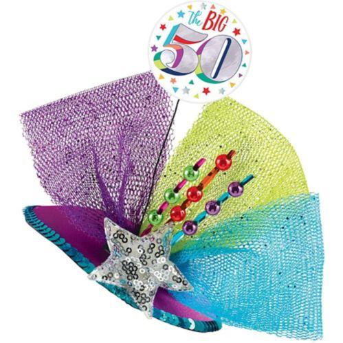 Clip-On Prismatic Multicolour 50th Birthday Fascinator Hat Product image