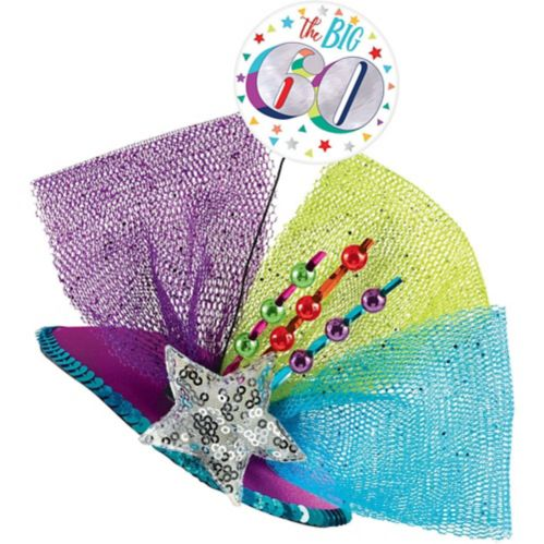 Clip-On Prismatic Multicolour 60th Birthday Fascinator Hat