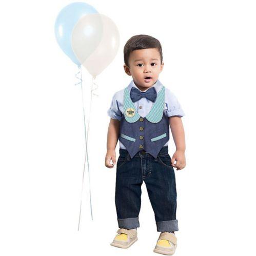 Blue 1st Birthday Boy Bow Tie & Vest Set