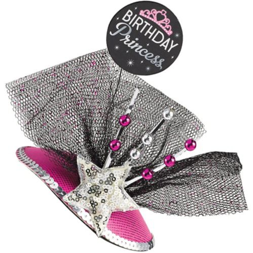 Clip-On Birthday Princess Fascinator Hat, Black/Pink Product image