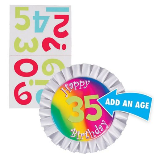 Happy Birthday Dots and Stripes Personalized Button