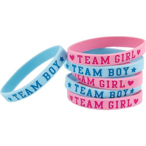 Girl or Boy Gender Reveal Wristbands, 6-pc