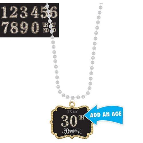 Collier de perles avec pendentif fête d'anniversaire étincelant