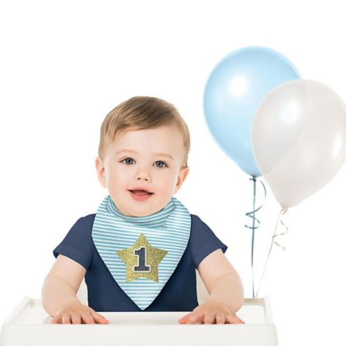1st Birthday Bib, Blue