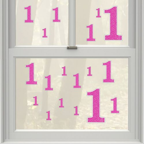 Pink Glitter Number 1 Cling Decals, 36-pc
