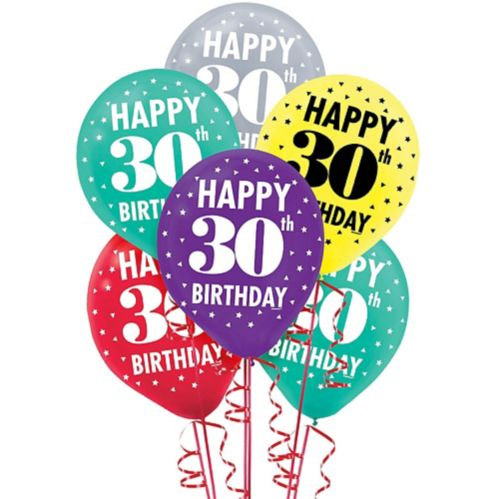 Here's to 30 Birthday Balloons, 15-pk