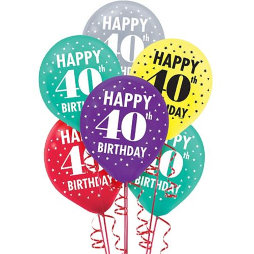 Here's to 40 Birthday Balloons, 15-pk