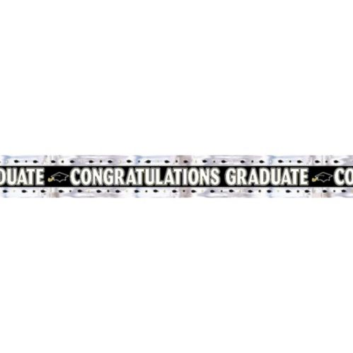 Black, Gold and Silver Foil Graduation Banner