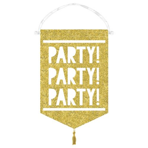 Glitter Gold Canvas Sign of the Times Party Sign