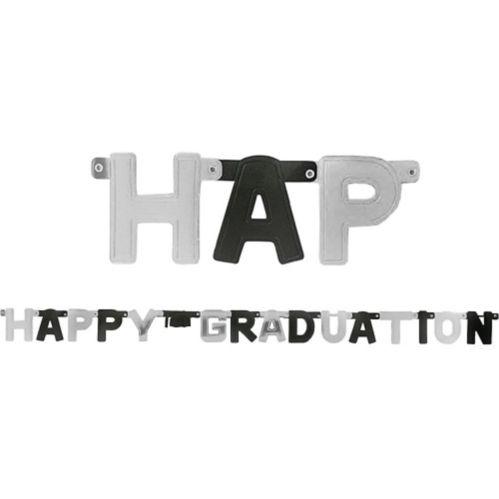 Black Silver Happy Graduation Letter Banner