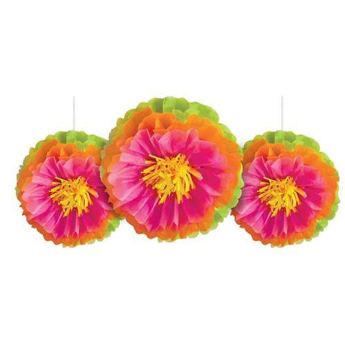 Tropical Flower Tissue Pom Poms, 3-pk