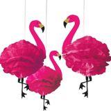 Flamingo Tissue Pom Poms, 3-pk