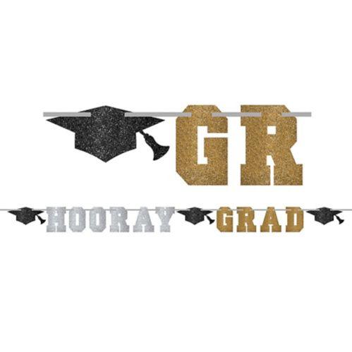 Glitter Hooray Grad Letter Banner