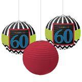 Celebrate 60th Birthday Paper Lanterns, 3-pk