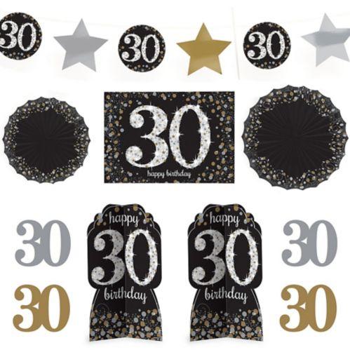 Sparkling Celebration 30th Birthday Room Decorating Kit, 10-pc