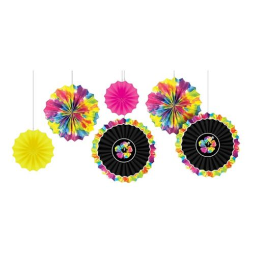 Neon Hibiscus Paper Fan Decorations, 6-pc