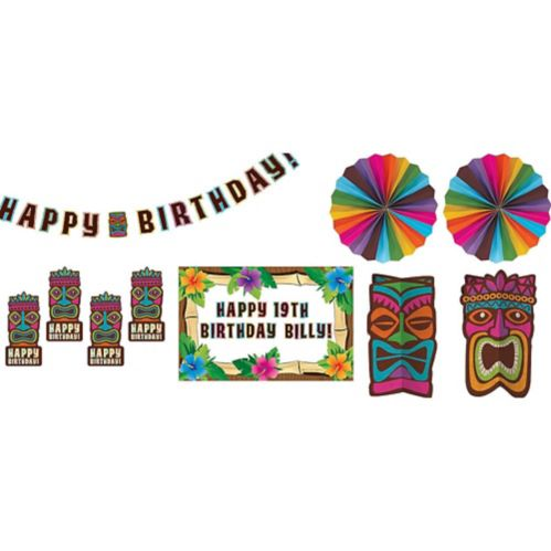 Tropical Tiki Birthday Room Decorating Kit, 8-pc