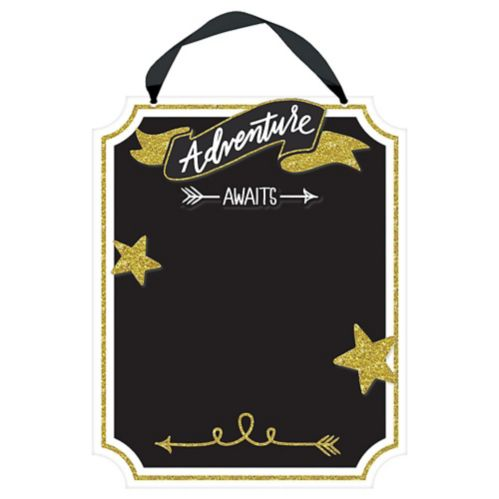 Glitter Gold Adventure Awaits Chalkboard Sign