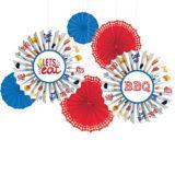 BBQ Picnic Paper Fan Decorations, 6-pc