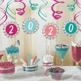 Yay Grad 2020 Paper Fan  Swirl Decorations, 12-pc