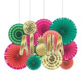 Aloha Paper Fan Decoration Kit, 17-pc