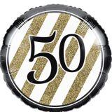 White & Gold Striped 50 Balloon, 18-in, 10-pk