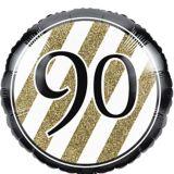 White & Gold Striped 90 Balloon, 18-in, 10-pk