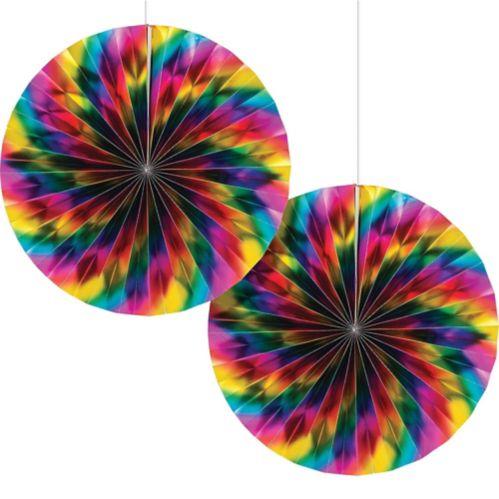 Metallic Rainbow Paper Fan Decorations, 2-pk