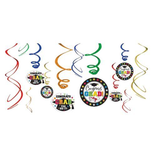 Multicolour Graduation Swirl Decorations, 12-pc