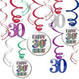 Here's to 30 Birthday Swirl Decorations, 12-pc