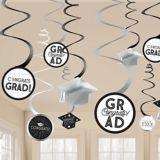 Grid Graduation Swirl Decorations, 12-pc