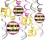 Pink & Gold 50th Birthday Swirl Decorations, 12-pc