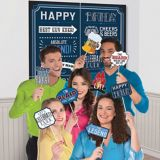 Vintage Happy Birthday Scene Setter with Photo Booth Props
