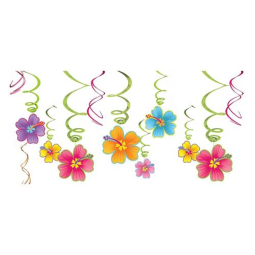 Hibiscus Swirl Decorations, 12-pc