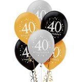 Ballons de fête scintillants 40e anniversaire, paq. 6