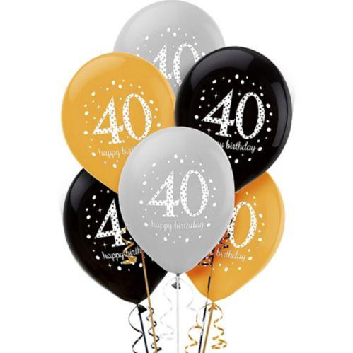 Sparkling Celebration 40th Birthday Balloons, 6-pk
