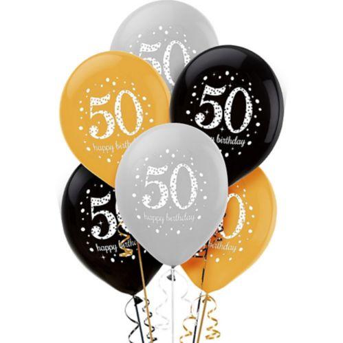 Sparkling Celebration 50th Birthday Balloons, 6-pk