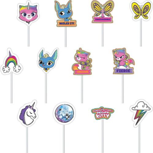 Rainbow Butterfly Unicorn Kitty Cake Toppers, 12-pc