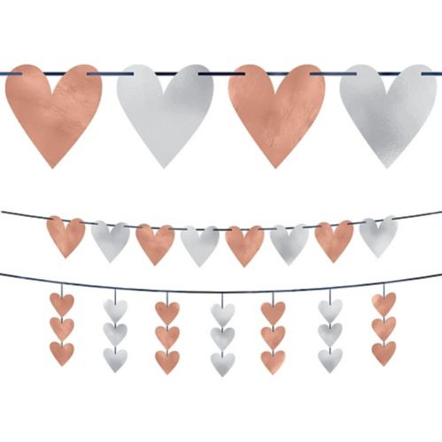 Rose Gold Heart Cutout Banners, 2-pc