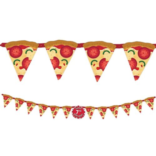 Pizza Party Birthday Banner Kit