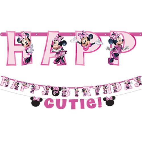 Minnie Mouse Forever Personalized Birthday Banner Kit, 2-pc